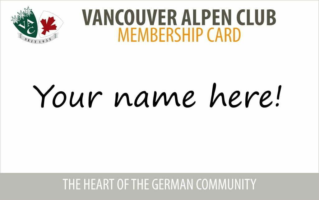 Vancouver Alpen Club · Social Club · Membership Card