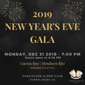 2019 New Year's Eve Gala @ Vancouver Alpen Club (Ballroom) | Vancouver | British Columbia | Canada