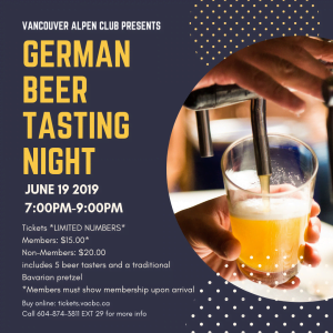 June Beer Tasting Night @ The Vancouver Alpen Club