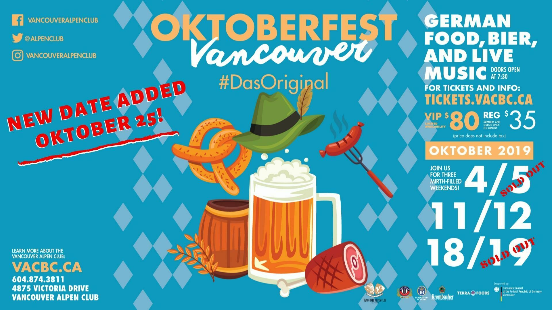 New Date Added For Oktoberfest 2019 – October 25th!