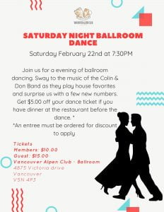 February Saturday Night Dance @ The Vancouver Alpen Club