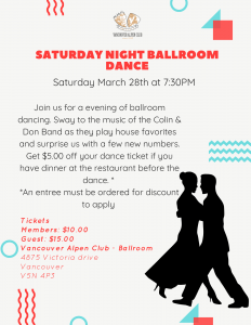 CANCELLED March Saturday Night Dance @ The Vancouver Alpen Club