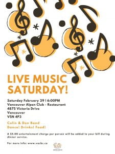 Live Music Saturday - Dance! Drinks! Food! @ The Vancouver Alpen Club