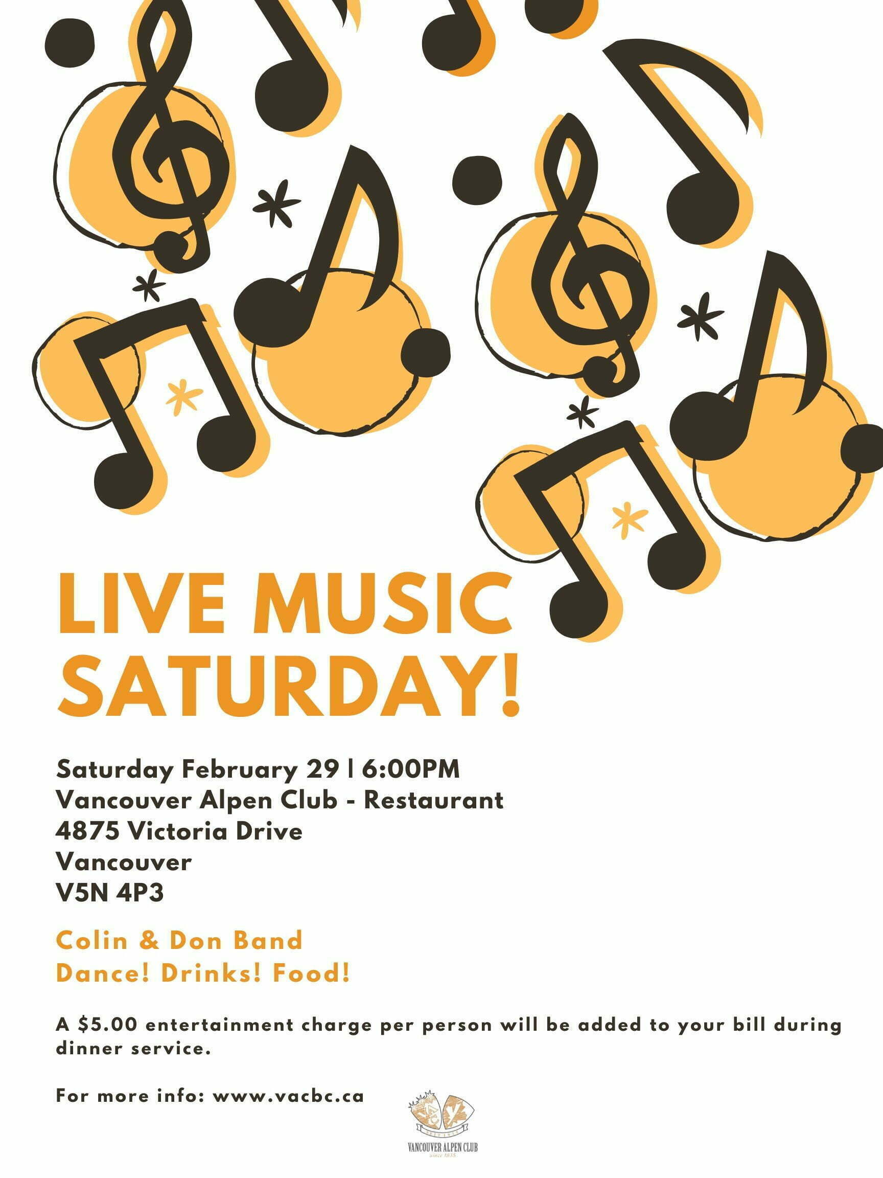 Live Music Saturday – Dance! Drinks! Food!